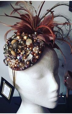1920 s style fascinator hat. Stunning Embellished hat. Hadleigh hats f814f8c45db