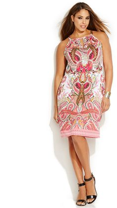Plus Size Keyhole Halter Dress