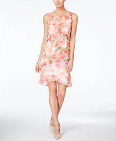 Style & Co. Tiered Tulip Printed Chiffon Dress, Only at Macy's   macys.com