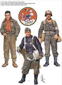 BEF (Brazilian Expeditionary Force) - 1 - Sottotenente Pilota, 1st Fighter Squadron, Pisa, feb 1945 - Tenente Osservatore, 1 Liason e Observation Sqdn, Suviano, feb 1945 - Medico, Plotone Fucilieri, Monte Soprassano, marzo 1945