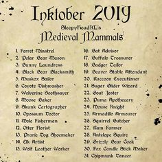 I'll be doing Medieval Mammals for ! Art Prompts, Writing Prompts, Sketchbook Prompts, Amazing Drawings, Art Drawings, Art Sketches, 30 Day Drawing Challenge, Challenge Ideas, Drawing Ideas List
