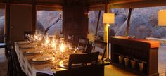 Dining Room The Lion Sleeps Tonight, Bouldering, Lodges, Safari, Table Settings, Dining Room, Chandelier, Camping, Ceiling Lights