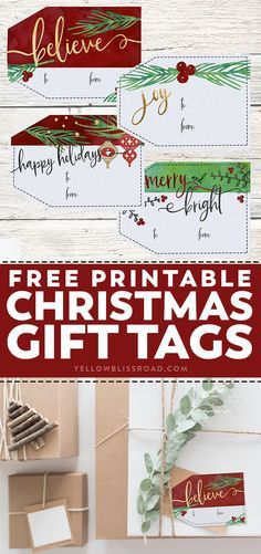 Free #printable #Christmas #gift tags with watercolors | Perfect DIY Labels For Christmas