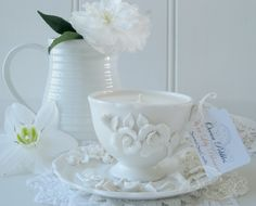 Sweet hand crafted tea cup candle