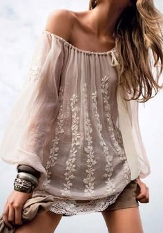 White Floral Embroidery Boat Neck Long Sleeve Blouse