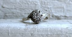 Vintage 18K White Gold Diamond Engagement Ring by GoldAdore