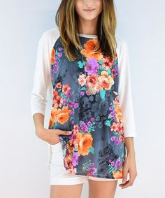 Loving this Ivory & Navy Floral Tunic on #zulily! #zulilyfinds