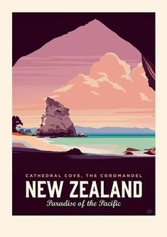 Cathedral Cove Travel Poster designed by Love Thy Land. The cave acts as a natur Cathedral Cove Trav Gig Poster, Poster Prints, Poster Quotes, Typography Poster Design, Creative Typography, Vintage Typography, Plakat Design, Tourism Poster, Photo Vintage