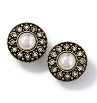 "Vintage Style Pearlesque Collection Earrings. Faux pearls with rhinestone accents in burnished brass setting. Available in pierced and clip-on. Approx. 3/4"" diam. Clip, Pierced.  http://www.youravon.com/zweinberg"