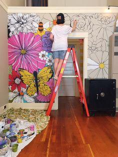 Wall Design, House Design, Studio Design, Design Art, Design Ideas, Mural Wall Art, Painted Wall Murals, Painting On Wall, Wall Drawing