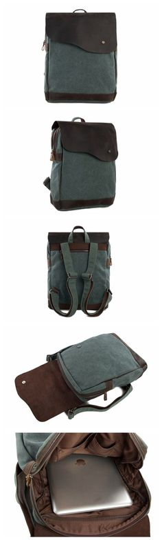 CANVAS LEATHER BACKPACK RUCKSACK SCHOOL BACKPACK CASUAL BACKPACK IN OLIVE GREEN