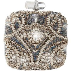 Marchesa Square Embroidered Clutch ❤ liked on Polyvore
