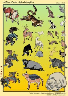 <新板獣尽 : SHINBAN KEDAMONO ZUKUSHI> TYPE OF BEAST YOSHITORA UTAGAWA 1857