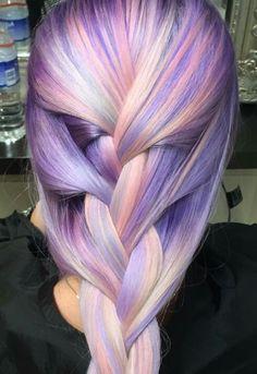 Purple pastel dyed braided hair