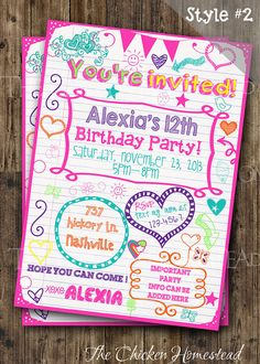 Custom Girl's Sweet 16, Tween, Teen, Sleepover, doodle birthday invitation!! Digital-printable-invite!! Two styles to choose from!
