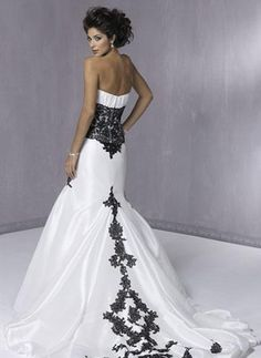 Luxury Black and White Wedding Dresse