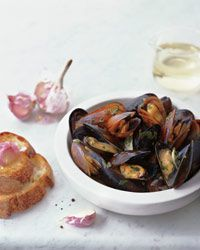Sauvignon Blanc-Steamed Mussels with Garlic Toasts Recipe on Food & Wine