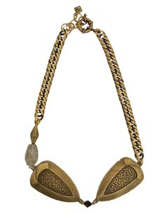 Double Pear Short Pendant Necklace with Big Chain Gold Necklace, Pendant Necklace, Fall Winter 2014, Labradorite, Antique Brass, Pear, Chain, Antiques, Jewelry