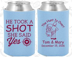 He Took a Shot, She Said Yes, Wedding Item, The Hunt is Over Wedding Favors, The Hunt is Over, Country Wedding Favors, Shooting Target, Wedding Favor Koozies  (559)