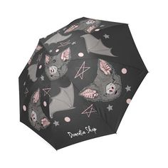 BATBAT LOVE UMBRELLA - Gothic Kawaii Sweet Bat Pink Black Dark Occultism Goth Magic Witchcraft Witch Rain Princess stars Harajuku Pastel