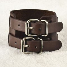 2 Buckle Leather Cuff Wrap Bracelet