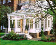 A conservatory is a room having glass roof and walls, typically attached to a house on only one side, used as a greenhouse or a sunroom. Description from pixgood.com. I searched for this on bing.com/images