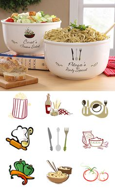 """Another Great wedding gift idea! The """"Your Special Dish"""" Personalized Serving Bowl - you can pick from 1 of 10 designs and you can personalize it with any 2 lines you want! You can have it say """"Mom's Famous Pasta"""" or have it personalized as a wedding gift and use the couple's names and wedding date! It's so elegant and beautiful and it's only $39.95 #Wedding #Recipe #Food"""