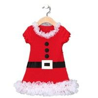 Wish | Baby Girls Christmas Lace Dress Red cartoon Santa Claus Dress Kids Cotton Casual children Dress kids Girls clothes Tutu Dress