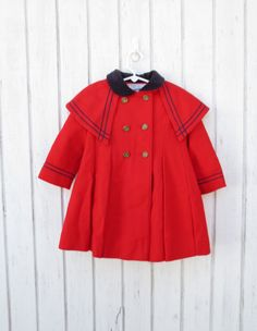Vintage Children's Clothes 60s Girl's Jacket Red Coat Madeline French Style