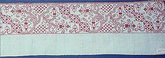 Embroidered border, silk on linen 16th Century Italian at the Met.