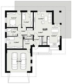 House Plans Mansion, My House Plans, Small House Plans, House Floor Plans, Building Design, Building A House, Small Villa, Bungalow House Design, Modern Mansion