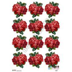 Hartie Decoupage Clasica : Hartie decoupage A4 - Buchet trandafiri rosii (mici)