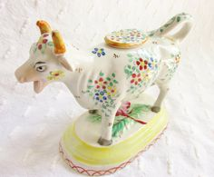 Antique Staffordshire Cow Creamer Hand Painted Flowers 1800s Cottage Chic
