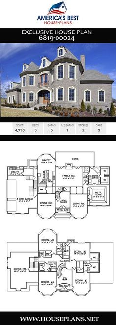 Exklusiver Hausplan - Exclusive House Plans - Home Design Large House Plans, Best House Plans, Dream House Plans, Modern House Plans, House Floor Plans, Large Floor Plans, Home Design, Modern House Design, House Plans Mansion