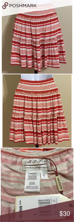 M.S.S.P. Skirt Size S M.S.S.P. Max Studio Specialty Products Women' Mini Skirt Size S Red & White Colors Horizontal Stripe Pattern Full Elastic Waistband Ruffle Seams Hand Wash 80% Rayon 15% Linen 5% Spandex Waist Fully Relaxed Elastic Waistband Approx. 27 Inches Elastic Waistband Will Comfortably Stretch To Approx. 32-34 Inches Hips Approx. 38 Inches Front Length Approx. 17 Inches Rear Length Approx. 17 Inches Sweep Approx. 72 Inches MSRP $ 68.00 New With Tag Max Studio Skirts Mini