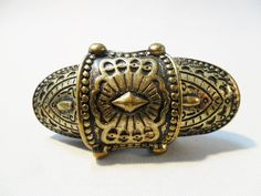 Vintage Ring Antiqued Gold Tone Metal Brutalist by KathiJanes
