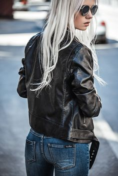 Find Beautiful Blonde Girl Posing Outdoors stock images in HD and millions of other royalty-free stock photos, illustrations and vectors in the Shutterstock collection. Girl Outfits, Fashion Outfits, Womens Fashion, Fashion Trends, Fashion 2017, Fashion Clothes, Fashion Tips, Black Leather Jacket Outfit, Vintage Denim