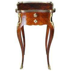 For Sale on - Solid woodFire-gilt fittings. Two drawers carcase ending on long curved legs in sabots. Brass Console Table, Brass Side Table, Modern Side Table, Table Furniture, Antique Furniture, Small Tables, Side Tables, Napoleon Iii, Coffe Table