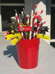 Paper straws at a Hollywood birthday party! See more party ideas at CatchMyParty.com!