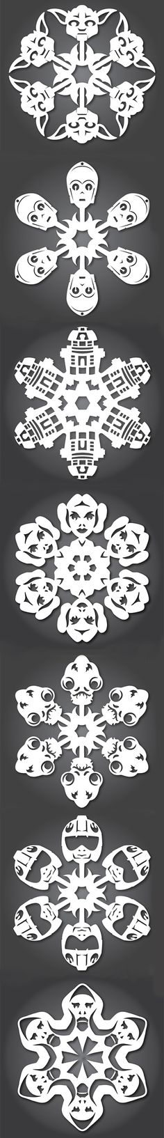 Star Wars Snowflake Templates.  Print them out and create a Star Wars winter wonderland!