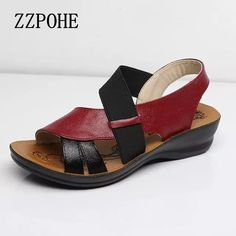 ZZPOHE Summer New Woman Soft bottom middle-aged Sandals Fashion comfortable mother sandals leather large size women's shoes 40 Rubber Sandals, Melissa Shoes, Womens Training Shoes, Shoes With Jeans, Fashion Sandals, Comfortable Shoes, Leather Sandals, Casual Shoes, Women Sandals