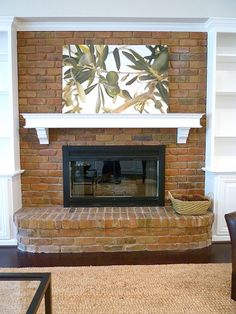 Great Images curved Brick Fireplace Concepts Renovation – family room, brick fireplace with painted mantel and built-ins Fireplace Hearth, Fireplace Design, Fireplace Ideas, Fireplace Pictures, Fireplace Built Ins, Farmhouse Fireplace, Fireplace Remodel, Fireplace Outdoor, Interiors