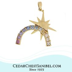 Count your rainbows not your thunderstorms  💛 💚 💙 💜 18Kt Gold Rainbow and Sun Pendant with Colorful Sapphires. A One of A Kind Cedar Chest Design