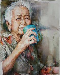 Watercolor on paper 56cm × 76cm #성낙규 #aquarelle #watercolor #portrait
