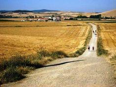 pilgrims following the camino. granon - belorado - tosantos | el camino de santiago de compostela | The way of st. james