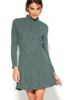 Šaty so stojačikom #ModinoSK High Neck Dress, December, Dresses, Fashion, Long Sleeve Shirt Dress, Turtleneck Dress, Full Sleeves, Rib Knit, Dressmaker