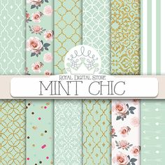 """Mint digital paper: """"MINT CHIC"""" with mint background, roses, damask, quatrefoil, mint and gold for scrapbooking, cards, invitations #digital #shabby"""