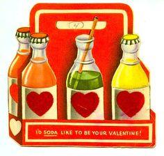 """thegroovyarchives: """"Vintage Soda Pop Valentine via kitschy-kitschy-coo """" Valentine History, Valentine Images, My Funny Valentine, Vintage Valentine Cards, Little Valentine, Valentine Day Love, Vintage Greeting Cards, Vintage Holiday, Valentine Day Cards"""