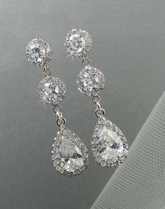 Dangle Crystal Bridal Earrings Wedding earrings Long Bridal earrings Bridesmaids Swarovski Wedding Jewelry,  Long Crystal Stud Earrings. $44.00, via Etsy.