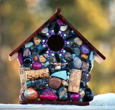 Colorful Mosaic Birdhouse with Wine Corks by WinestoneBirdhouses, $105.00